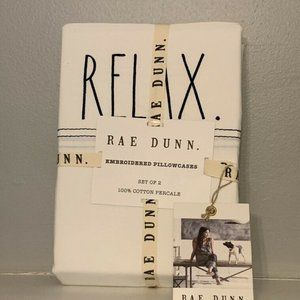 "NWT RAE DUNN ""Relax"" Embroidered 2 Pillowcases"